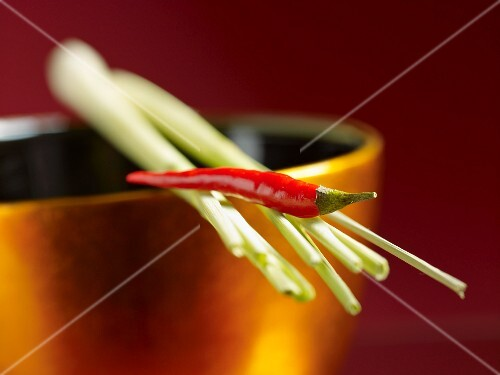 An arrangement of oriental spices: a red chilli pepper and lemongrass on a golden bowl