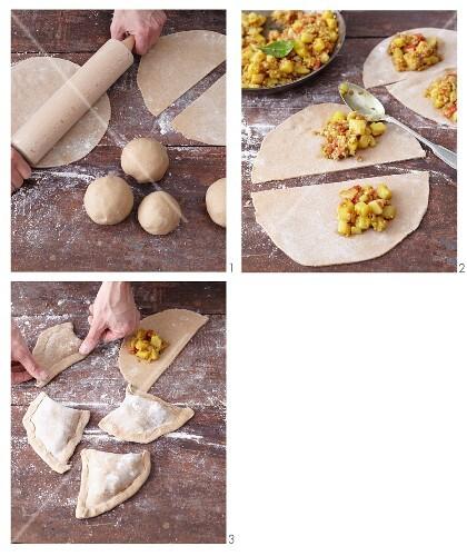 Vegetarian buckwheat and spelt samosas being made