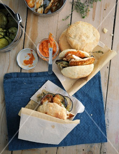 Pita pockets filled with grilled vegetables and pepper hummus