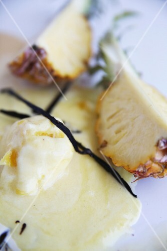 Pineapple sorbet with caramelised pineapple pieces