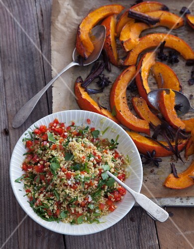 Vegan millet salad with baked pumpkin and a lime dressing