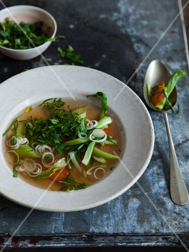 Vegan celery broth with bok choy