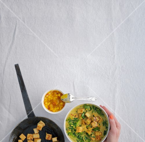 Indian palak tofu with mango chutney