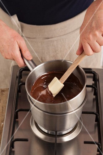 Melting chocolate over a hot water bath