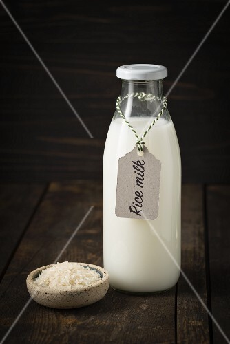 Rice milk in a glass bottle with a label