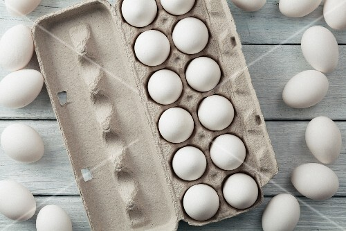 White eggs in egg boxes