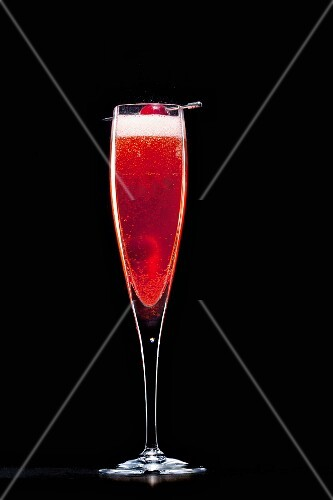 Prosecco with Campari and cherries