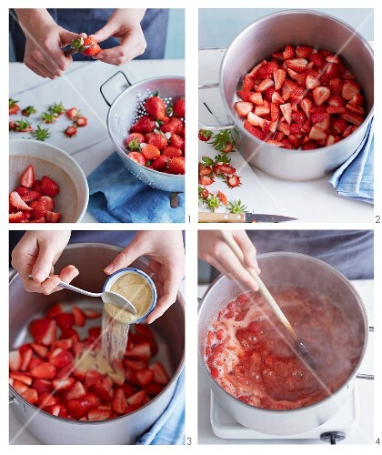 Strawberry jam being made