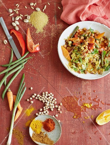 Spiced orange millet with oriental vegetables