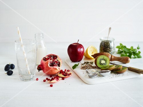 Fruits, kernels, seeds and herbs for making smoothies