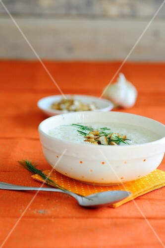 Garlic soup with croutons