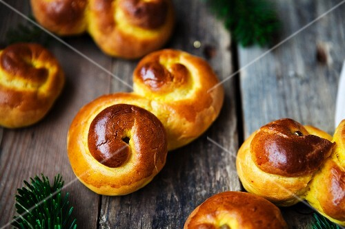 Classical Swedish saffron buns with raisins