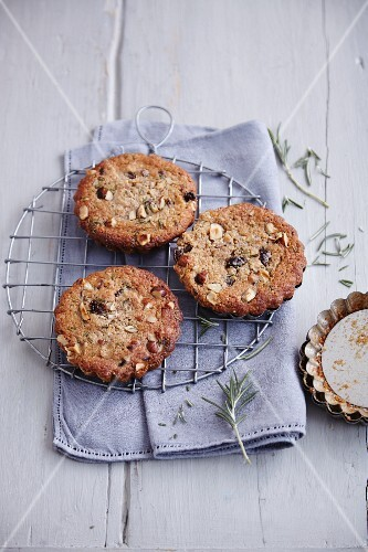 Gluten-free sour cherry cakes with nuts and rosemary