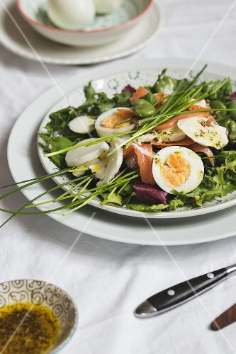 Spring salad with broad beans, salmon, mozzarella and boiled eggs