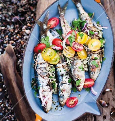 Stuffed sardines with rice, almonds and feta cheese