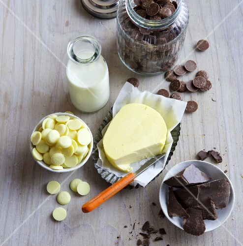 Various types of cooking chocolate, butter and milk