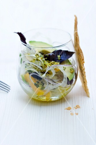 Fennel and avocado salad with oranges and pistachio vinaigrette in a glass