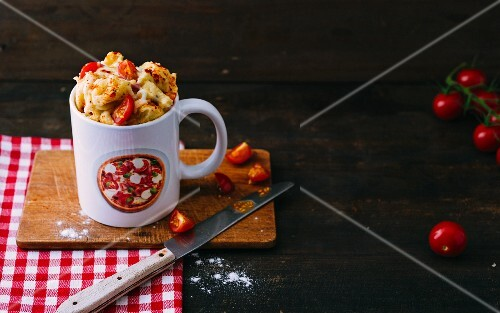 A quark and cheese pizza mug cake