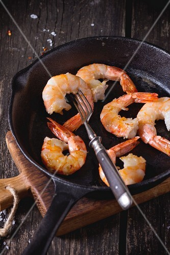 Pan fried prawns