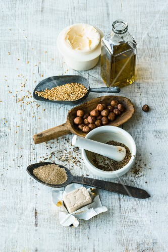 Spices, fats, yeast, nuts and seeds for baking bread
