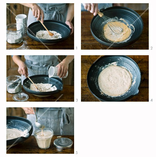 Sour dough being made from wholemeal rye flour
