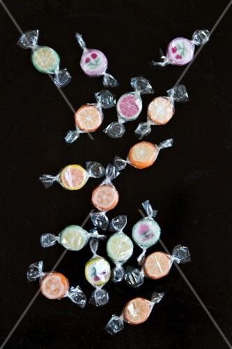 Various bonbons wrapped in cellophane (seen above)