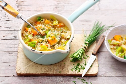 Vegetarian barley stew with turnips