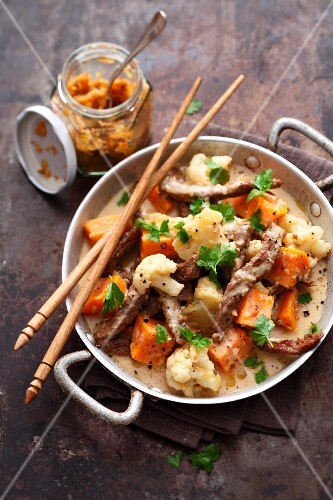 Sweet potato stew with beef and cauliflower