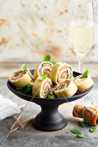 Crepe rolls with smoked salmon and cream cheese