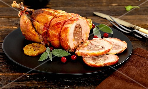 Roast pheasant with a ham and apple stuffing