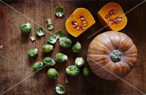 A pumpkin and Brussels sprouts