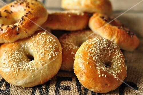 Flax seed and sesame seed bagels