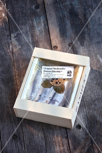 Herring from Stralsund packed in a small wooden crate