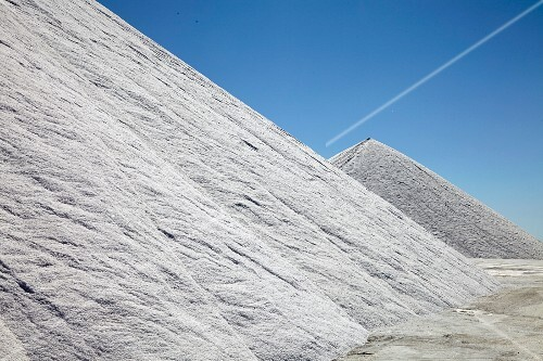 Sea salt extraction in Camargue, France, salt mountains