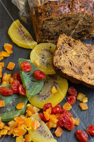 Juicy fruit bread with kiwis, cranberries, oranges, nuts and figs (sliced)