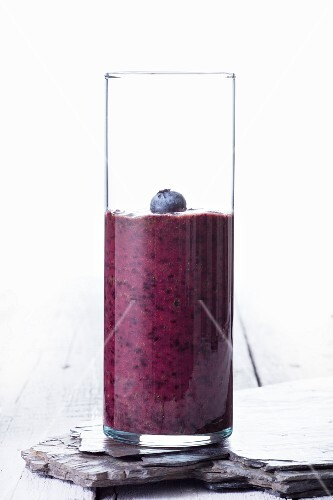 Homemade Blueberry Smoothie in a Jar with Ribbon
