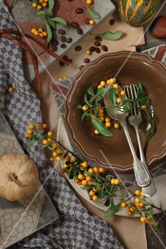 Sea buckthorn branches decorating autumn table