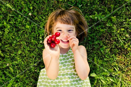 A laughing little girl lying in a green field holding cherries