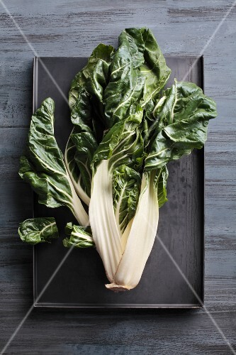 Chard on a baking tray