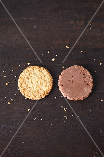 Two chocolate oat biscuits