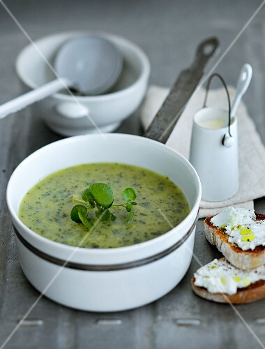 Cream of leek soup with cream cheese crostini