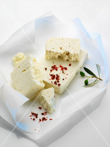 Feta cheese on a piece of paper