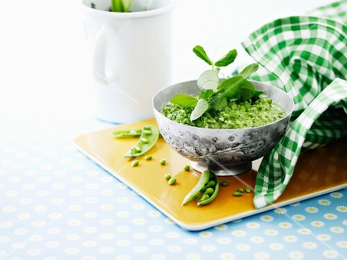 Fresh pea and mint pesto with young peas