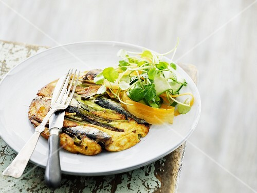 Frittata with anchovies and vegetables