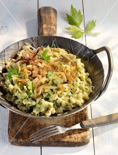 Wild garlic Spätzle (soft egg noodles from Swabia) with onions