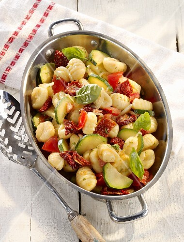 Vegetarian summer gnocchi with courgettes