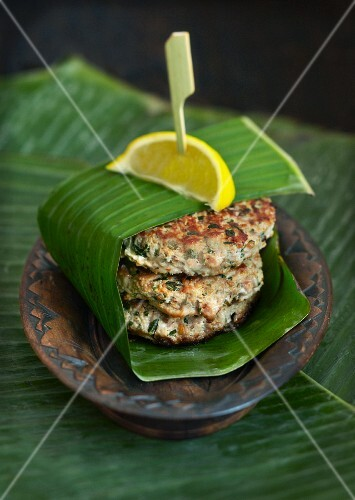 Spicy patties in a banana leaf
