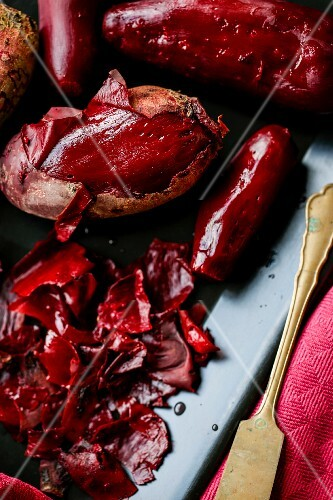 Beetroot, partially peeled