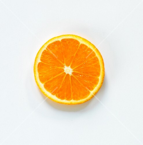 An orange slice seen from above
