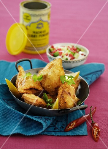 Fried fish with a yoghurt dip (India)